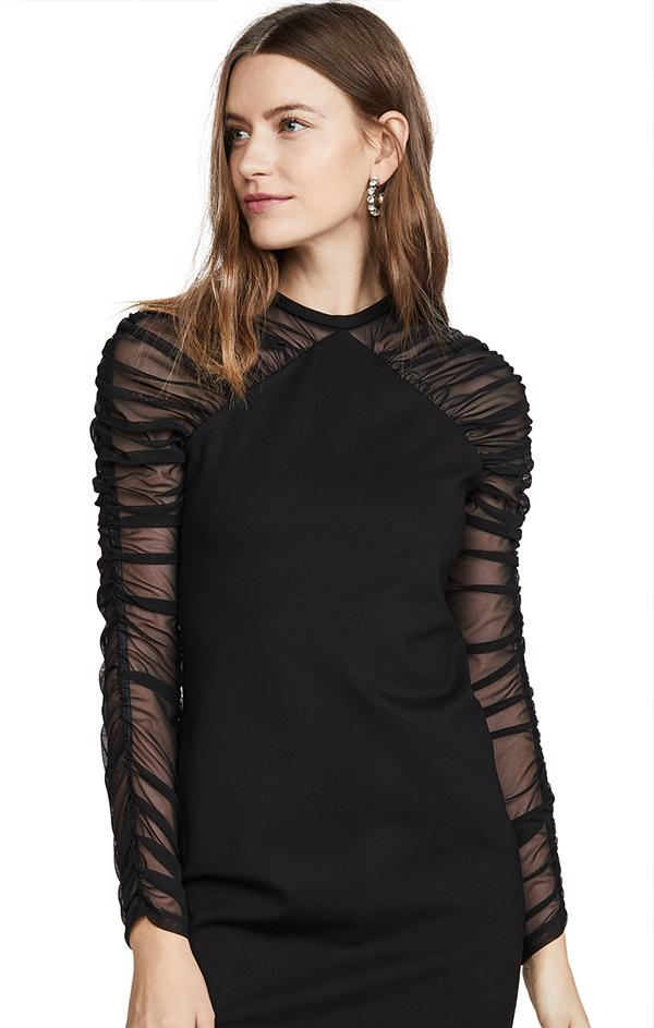 long sleeve spring black cocktail dress