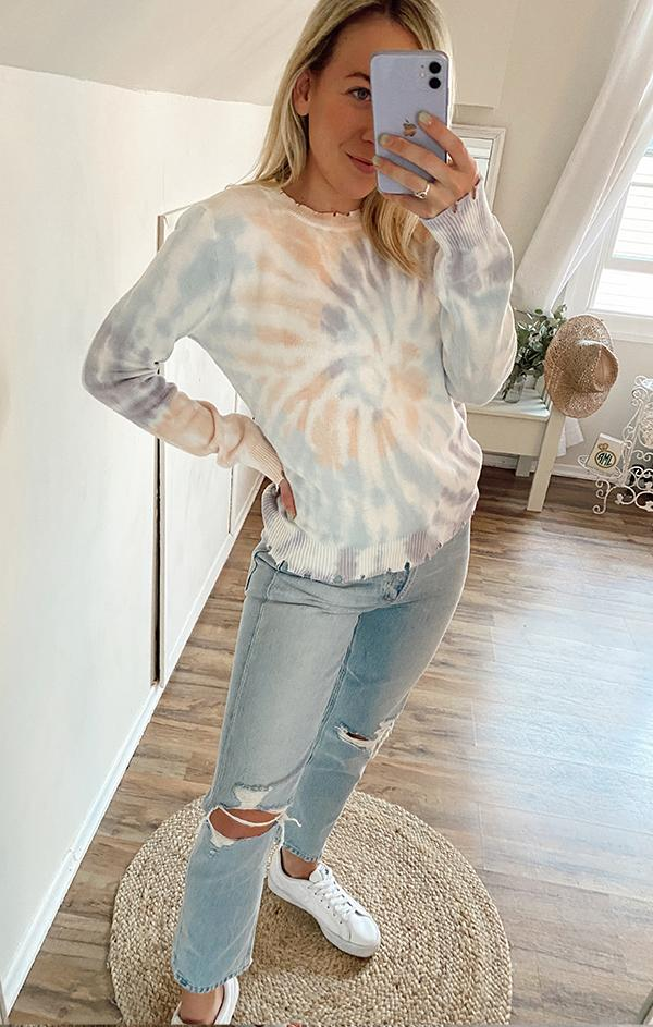 multi tie dye print distressed fate women's crewneck knit