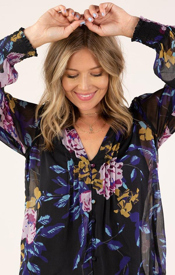 black floral fall sheer blouse