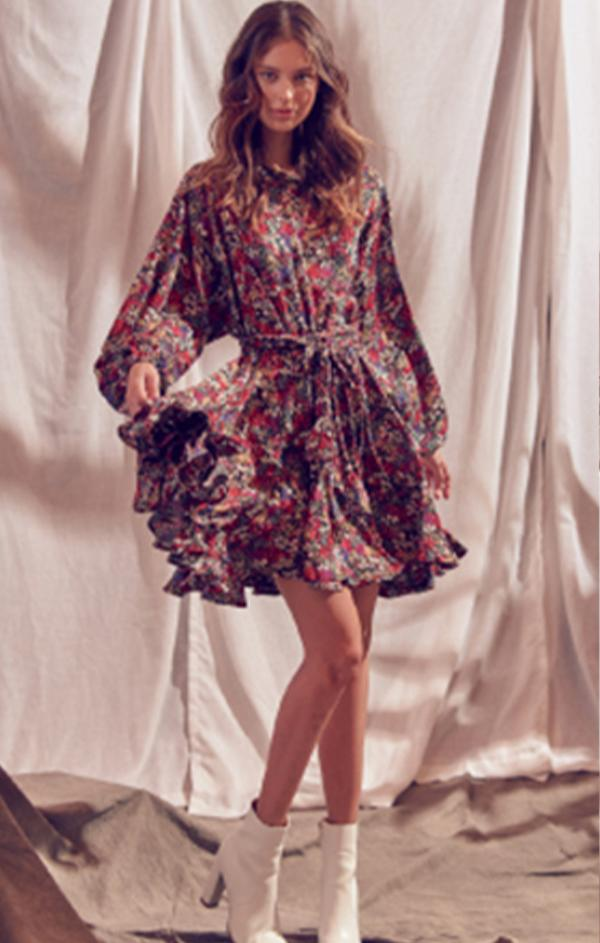 long sleeve fall floral mini dress