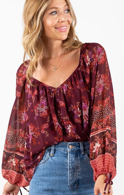 fall floral flowy boho blouse for fall