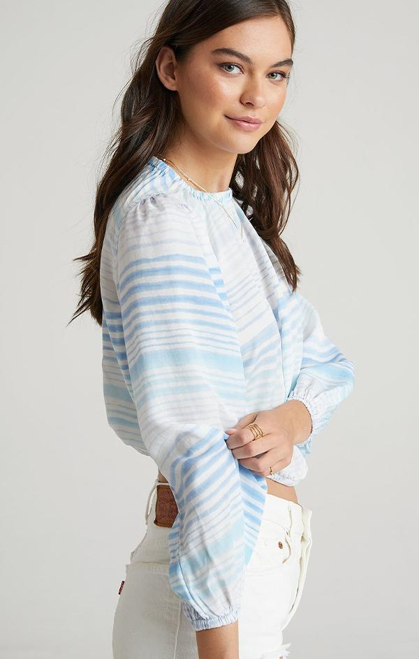 blue striped long sleeve top