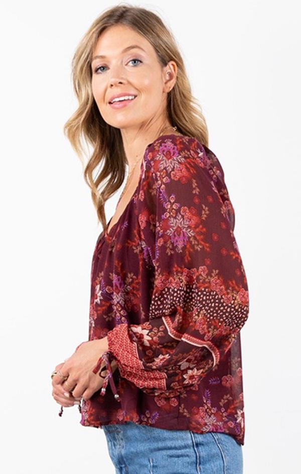 fall floral blouse for fall