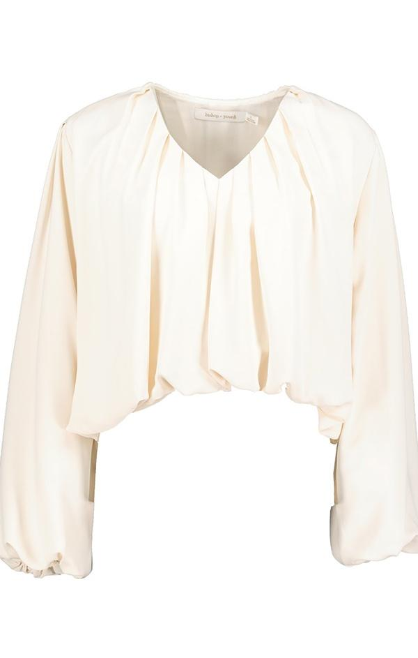 v neck pleated blouson sleeve blouse