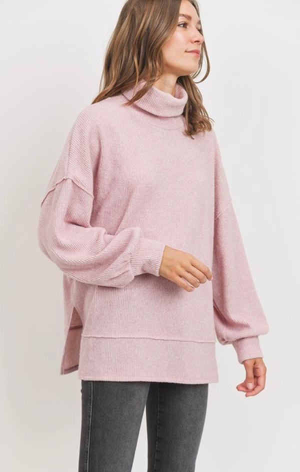 balloon sleeve pink turtleneck top for winter