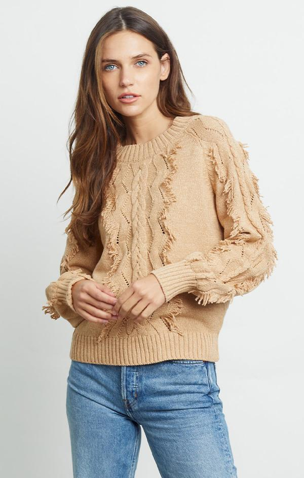 fringed crew neck knit