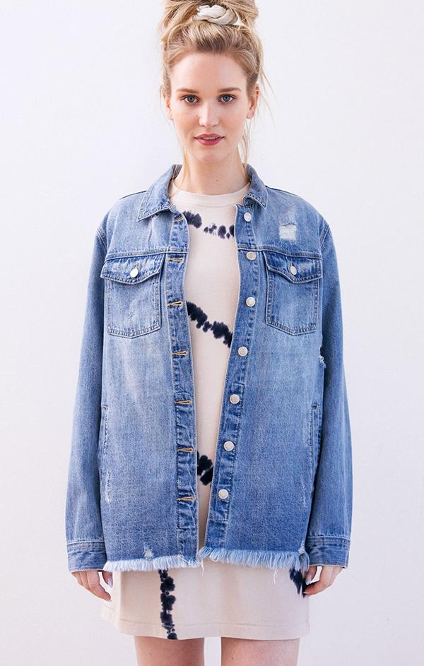 oversized thread and supply blue denim shirt jacket shacket