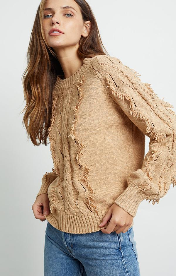 cozy fringe knit sweater