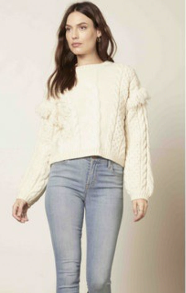 cozy cable knit fringe detail winter white sweater