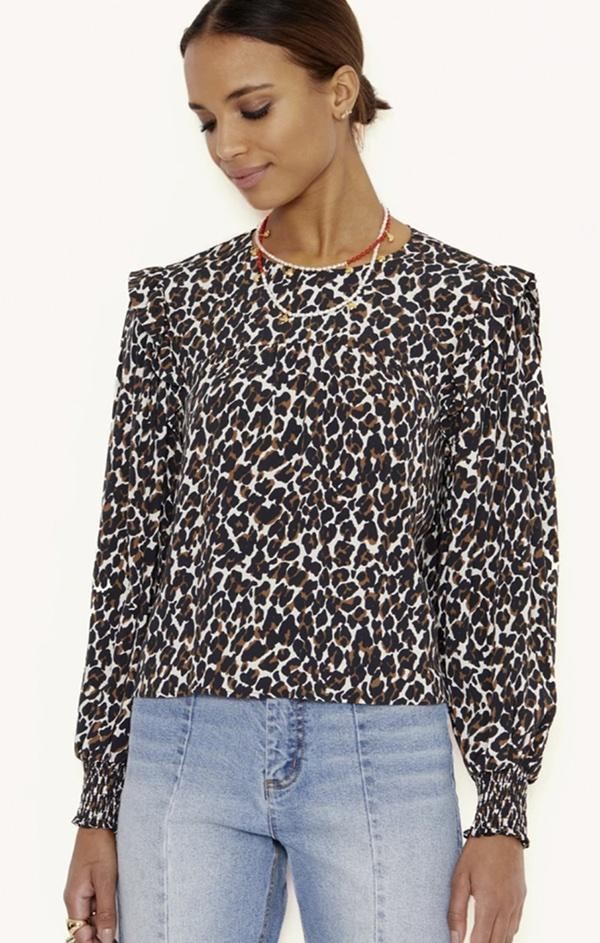 animal printed puff sleeve top blouse