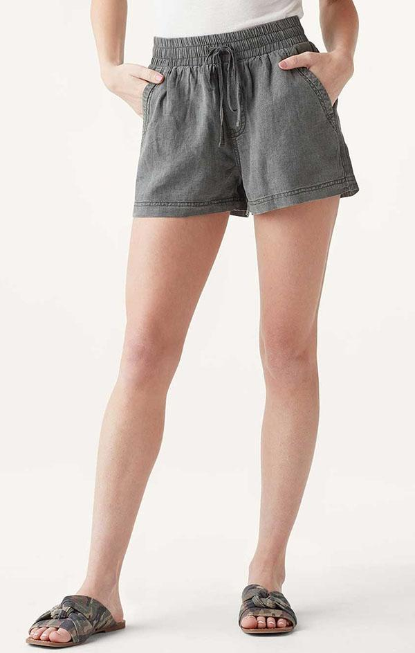 dark green elastic waistband shorts