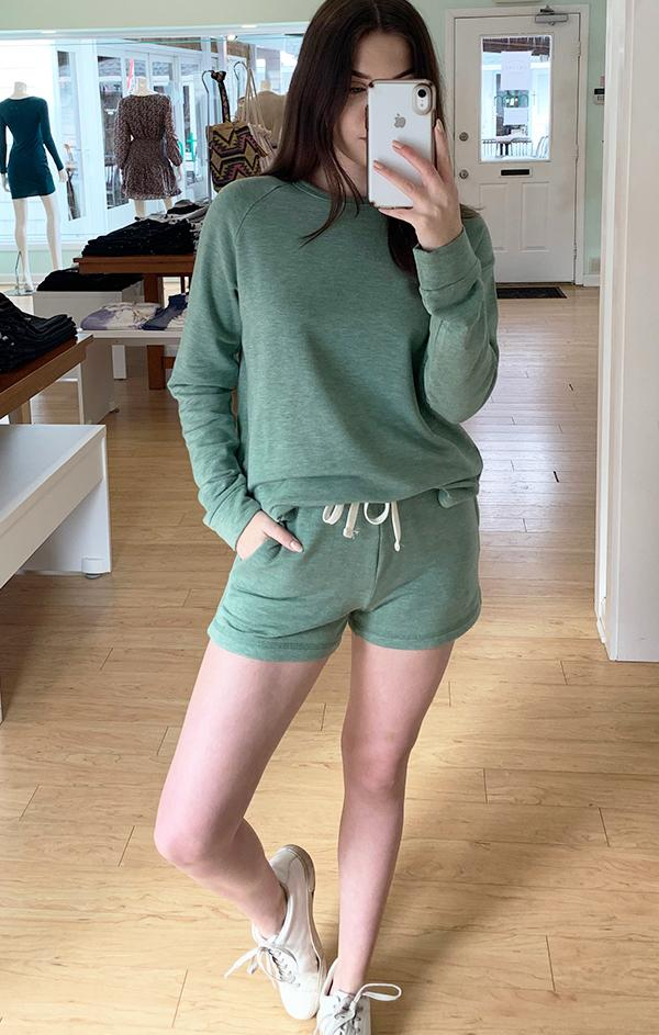 matching green shorts set for spring