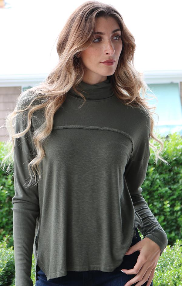 drop shoulder long sleeve turtleneck