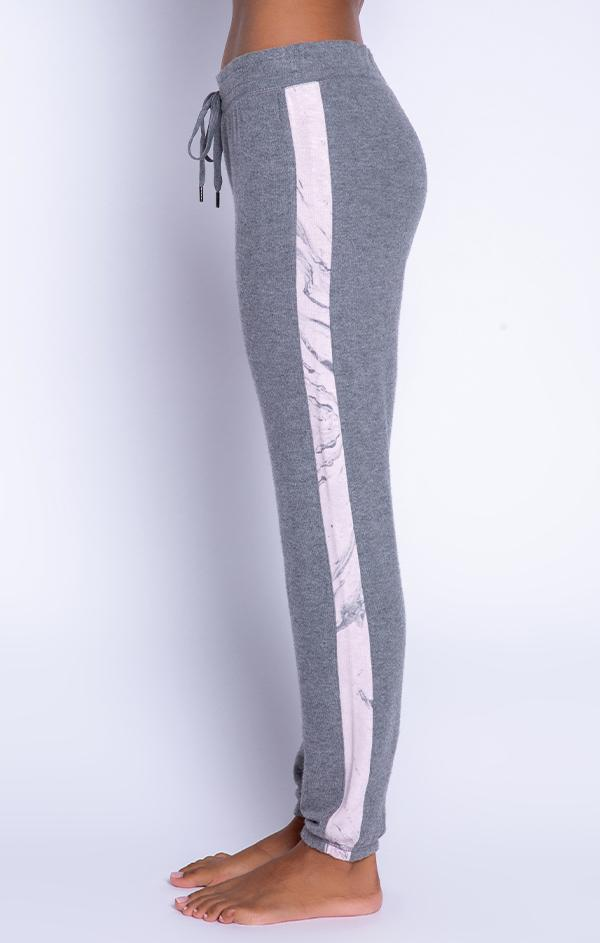 pale pink marbled side stripe heather grey jogger pant
