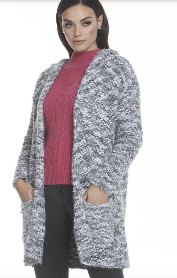 hooded grey cozy cardi