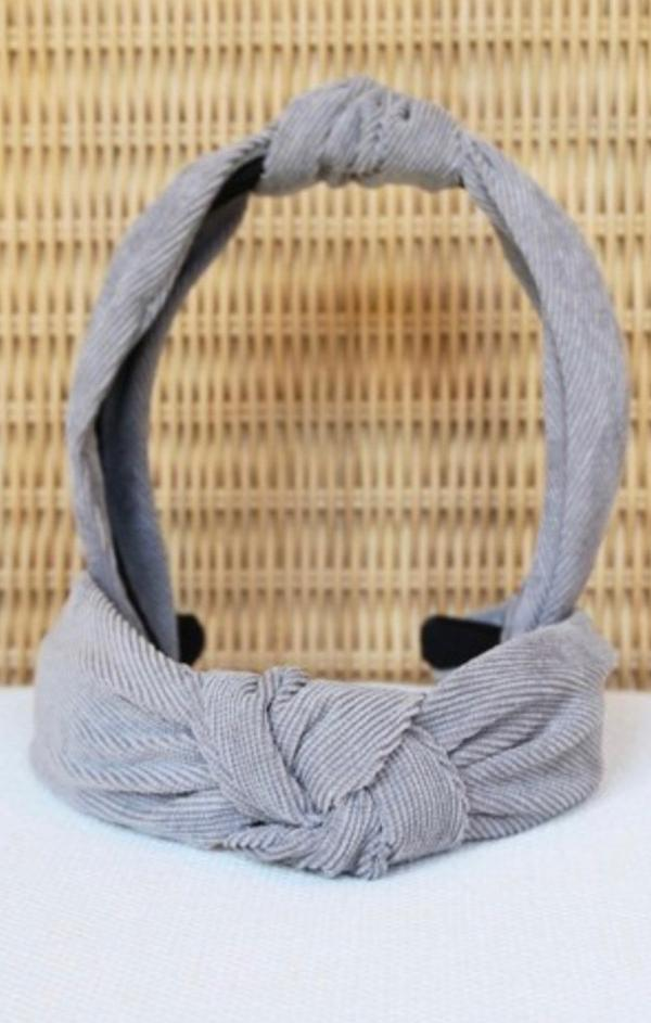 top knotted corduroy grey headband