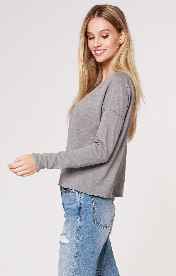 long sleeve boat neckline top