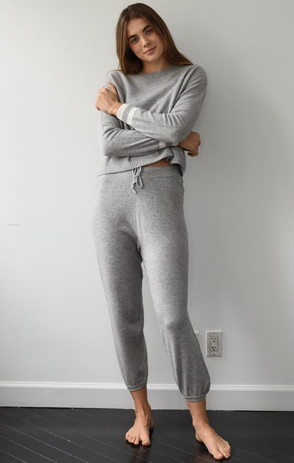 grey cashmere lounge jogger pant