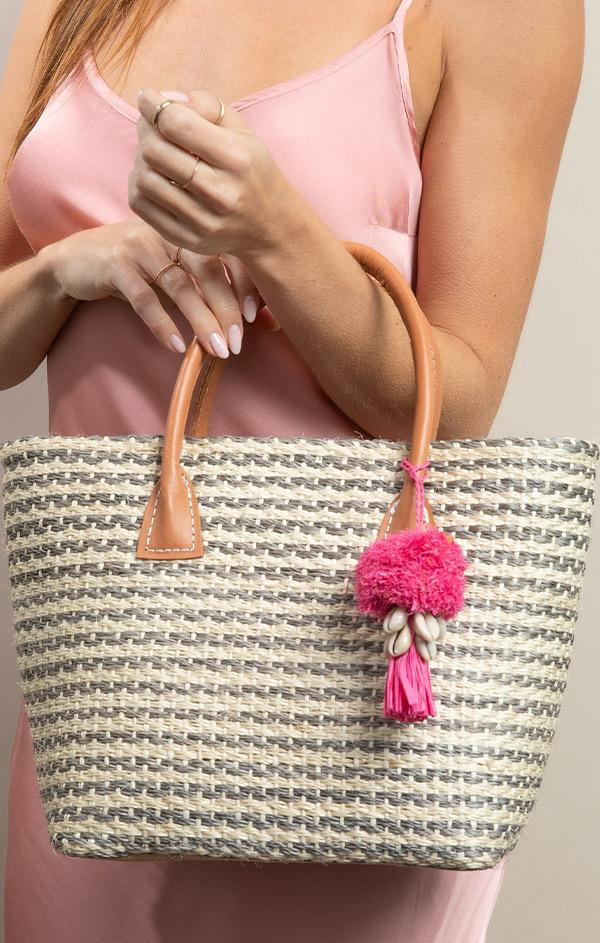 woven stripe tote bag with pom pom
