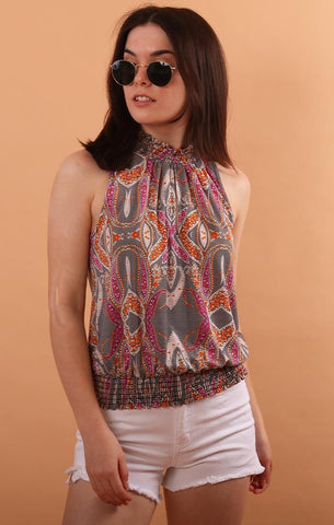 Veronica M halter top with smocked neck and waist printed