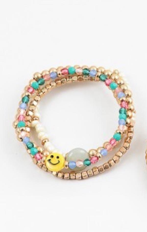 trendy summer jewelry Happy face smiley Beaded Bracelet