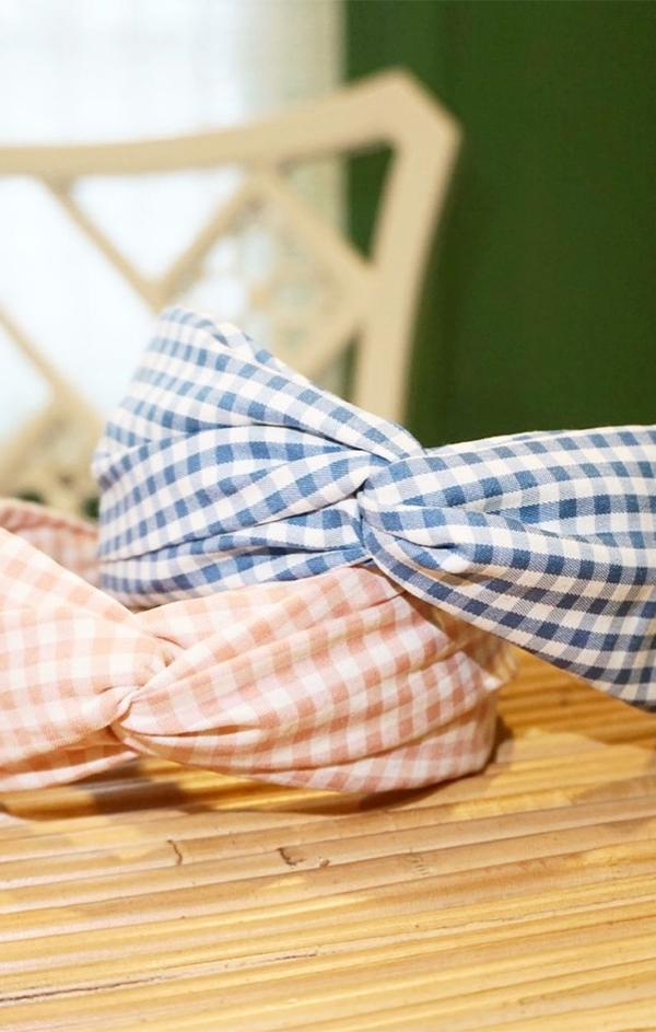 gingham printed headbands