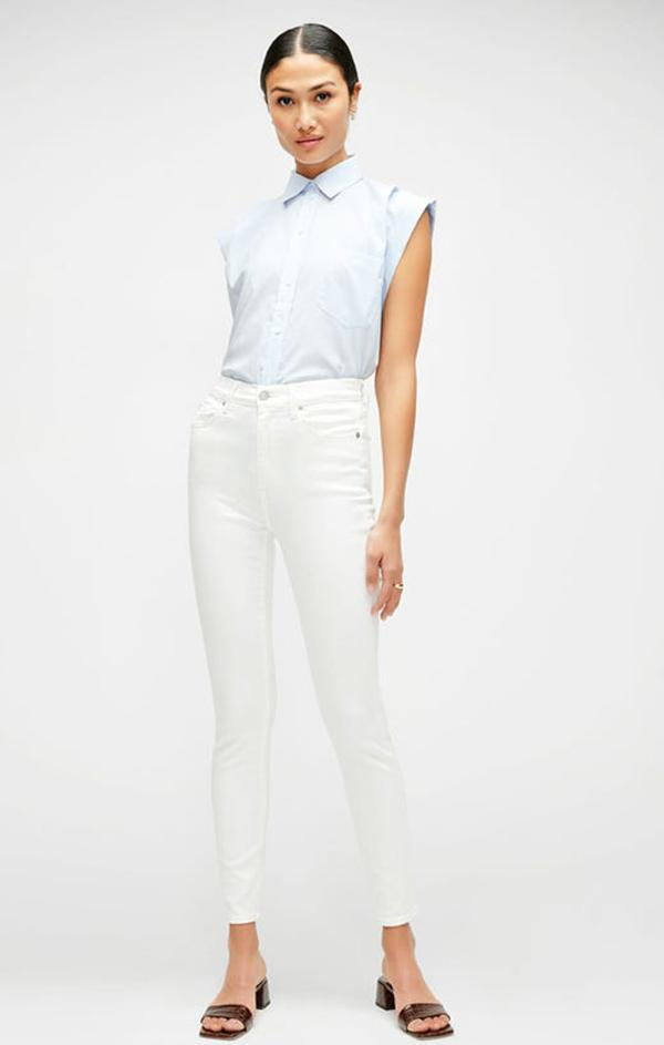 luxe white high waist ankle skinny denim jeans 7 for all mankind