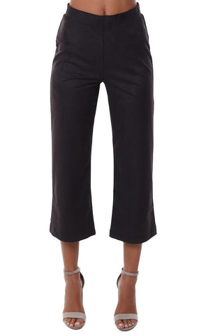 Lyssé Pants High Waist Faux Suede Cropped Fitted Work Pant