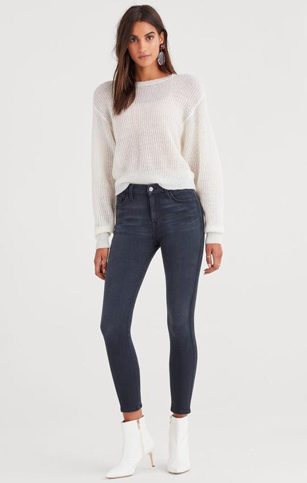 high waisted slim kick denim jeans