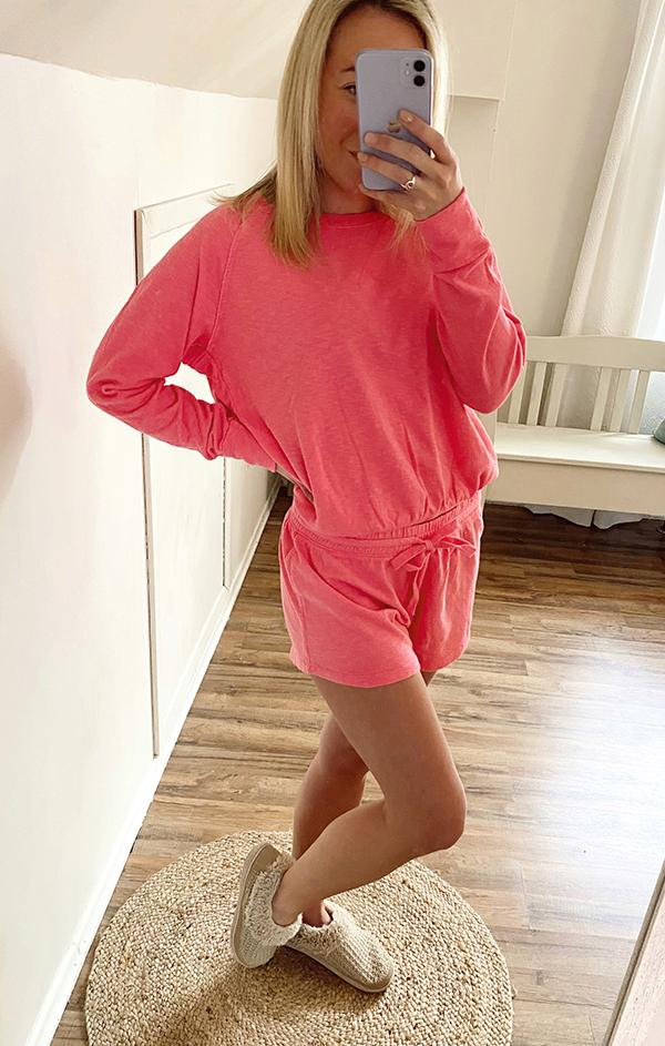 bobi soft comfortable summer hot pink lounge short set