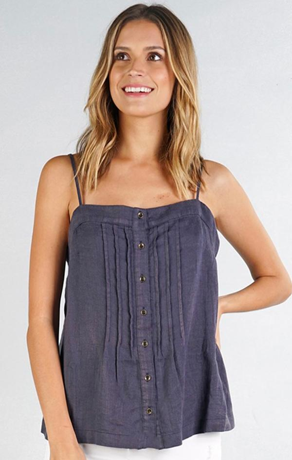pin tucked button front cami top