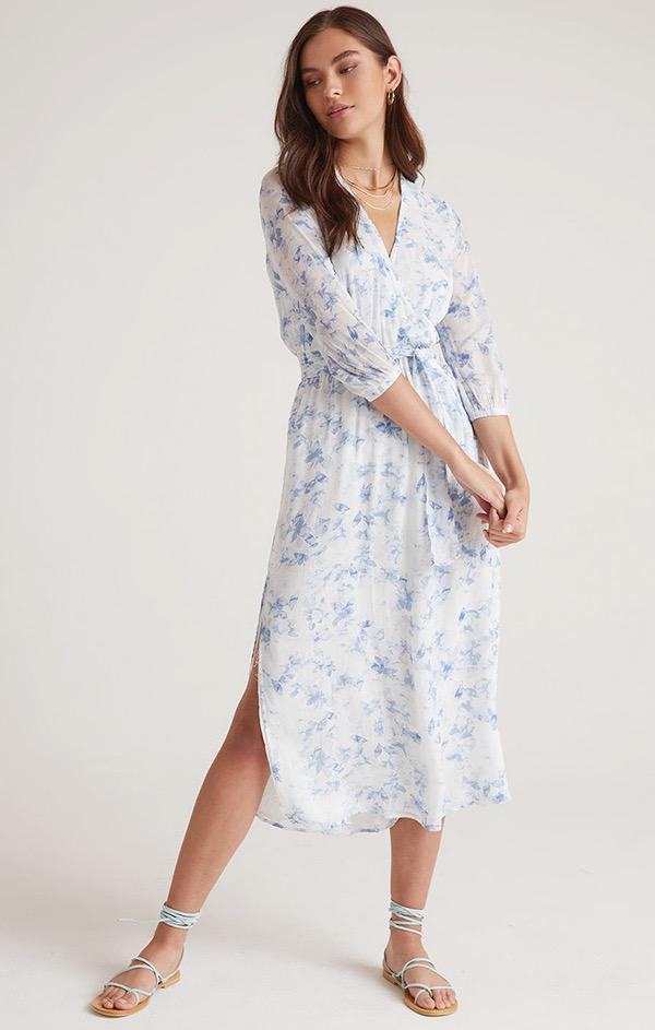 floral printed cross front belted midi dress