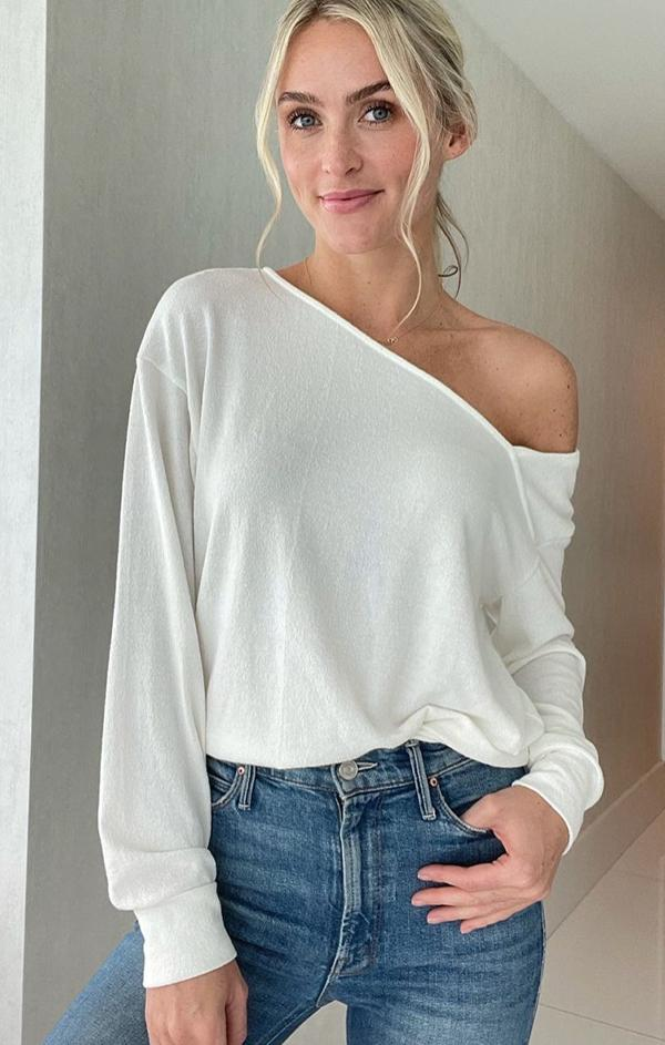 off the shoulder ivory lightweight six fifty spring top