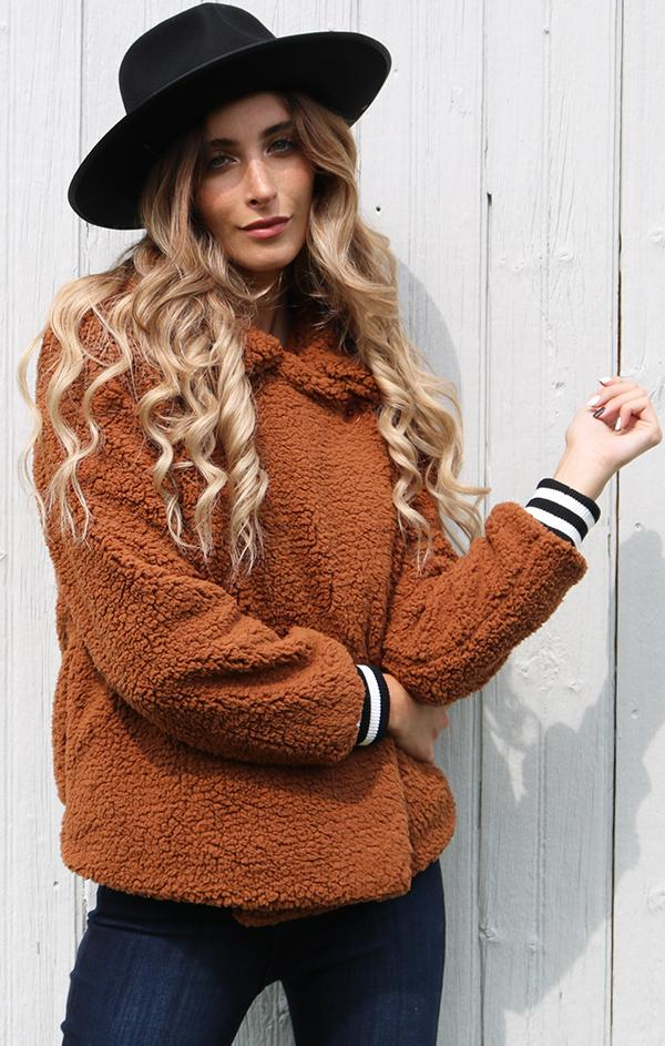 cozy brown teddy coat