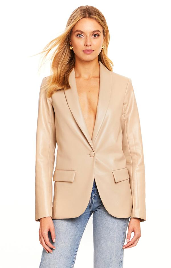 Amanda Uprichard Jane faux leather tan blazer jacket for spring