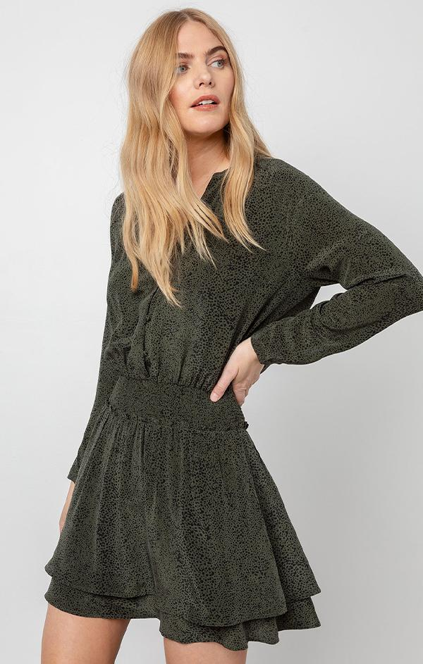 olive green mini dress for fall