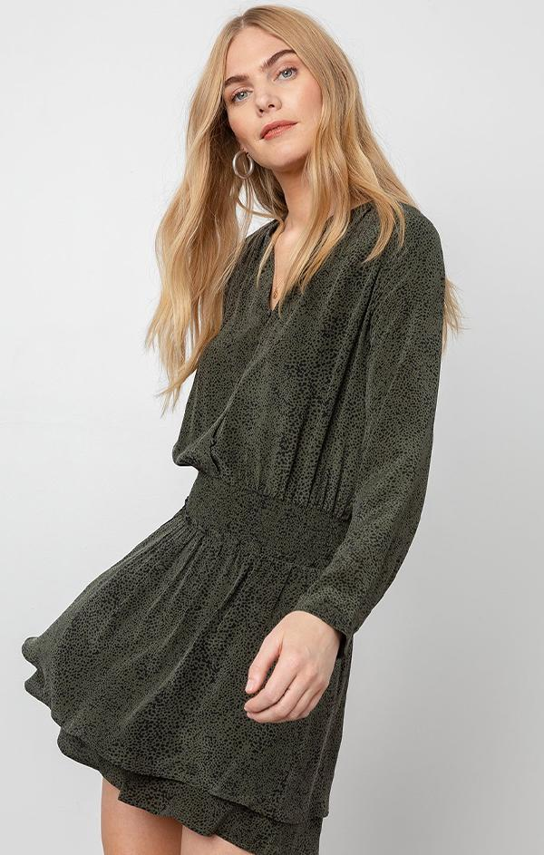 chic olive green mini dress for holidays