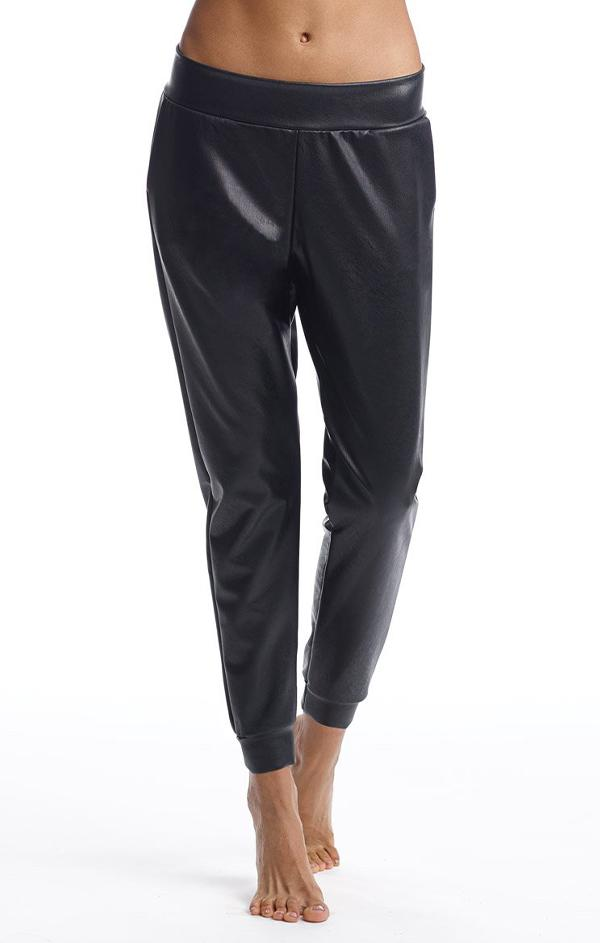 faux leather joggers in black