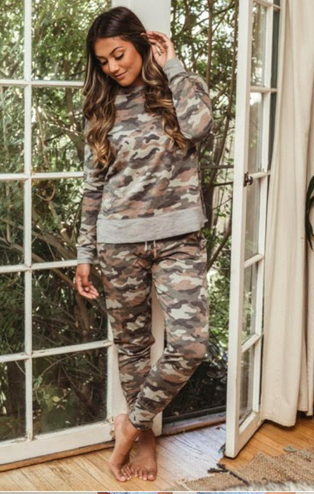 camo sweatshirt and matching joggers