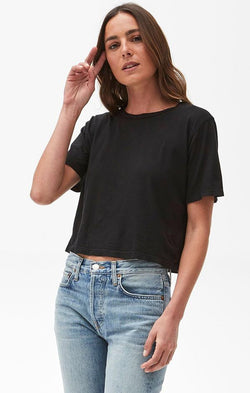 Michael Stars short sleeve black crop spring top for women