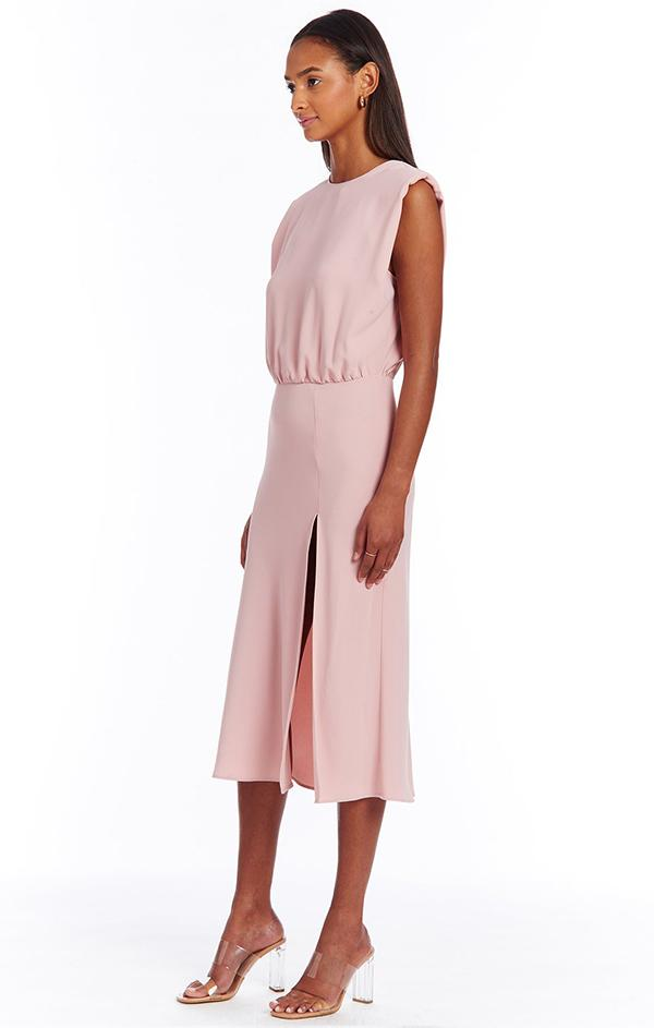 dressy formal light pink midi dress