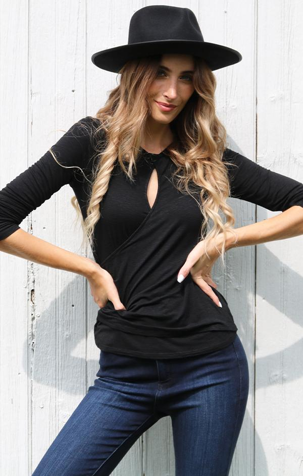 cross front keyhole neck top