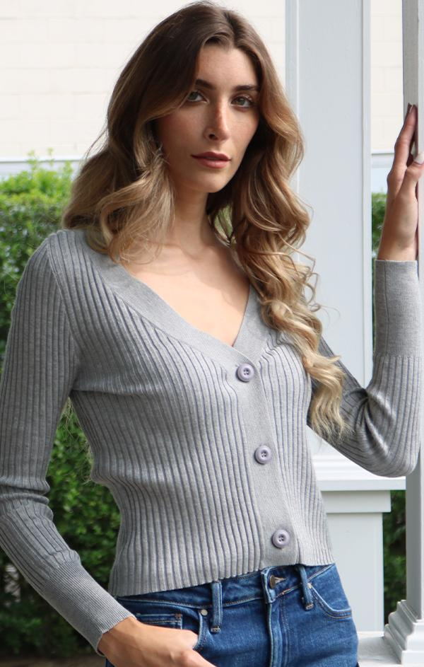 ribbed fitted cardigan