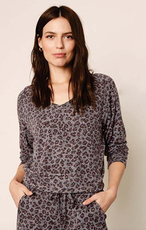 animal printed soft knit top