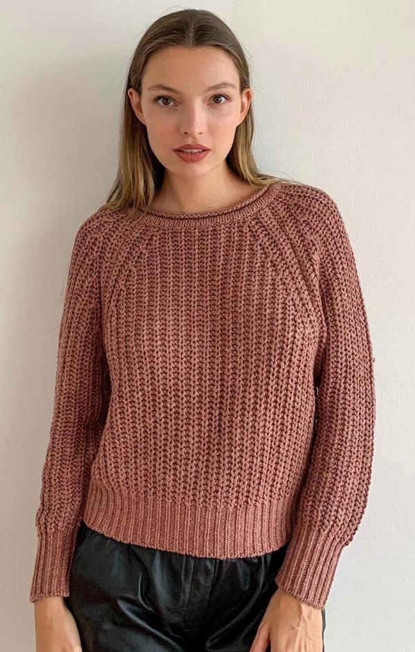 crop raglan crew neck knit sweater