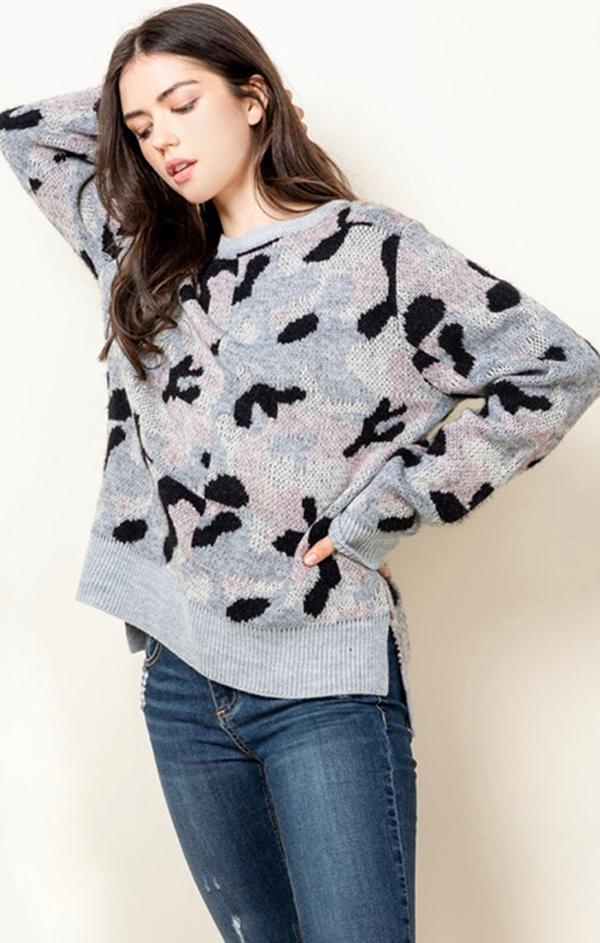 cozy camo printed pullover for fall and winter