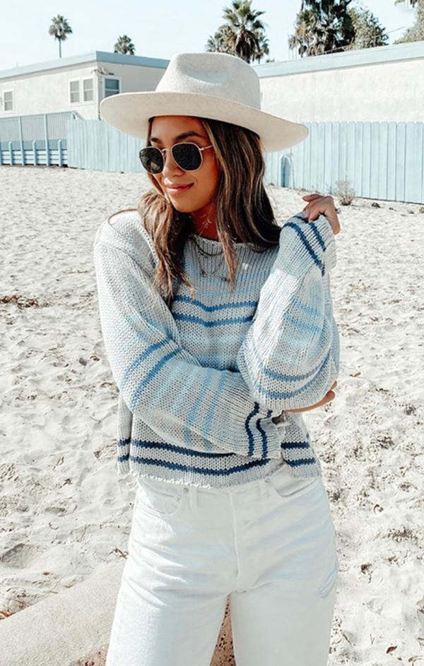 striped long sleeve spring knit top