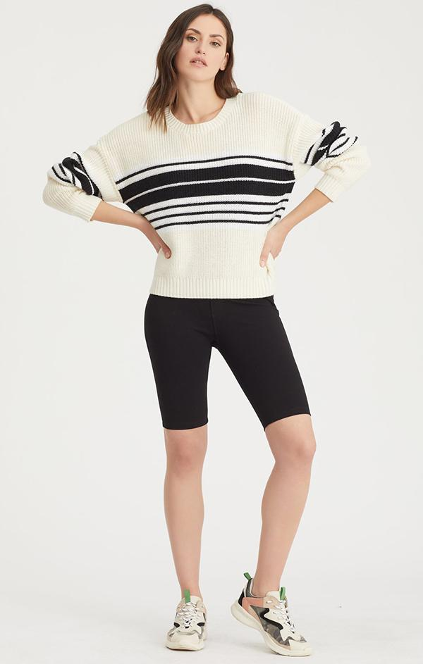long sleeve knit black striped sweater