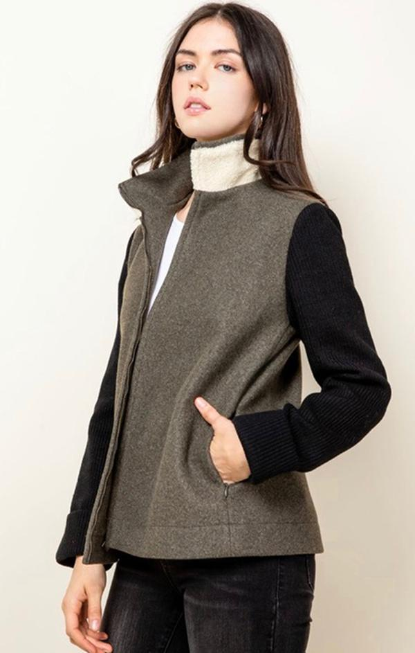 color block zip front knit jacket