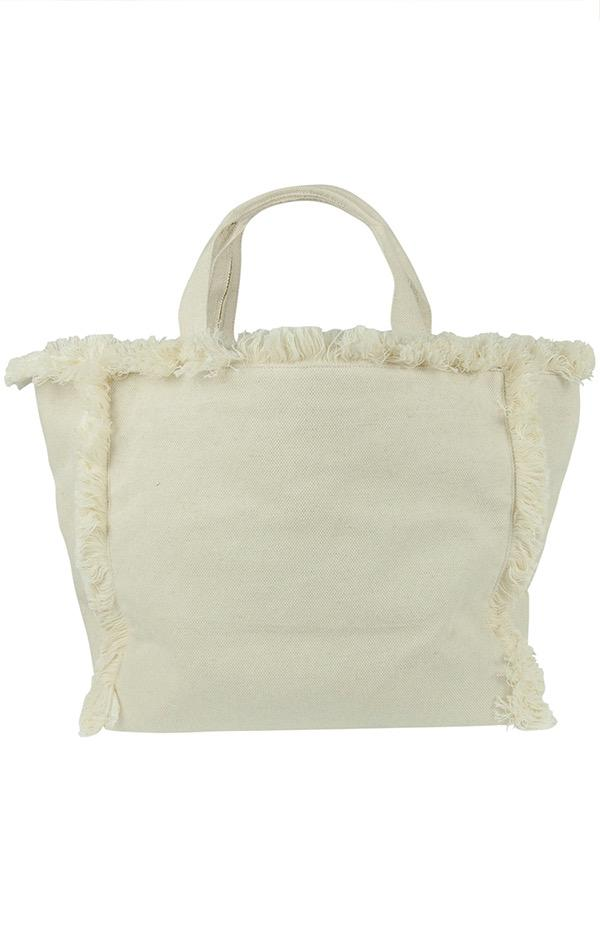 linen frayed edge tote bag